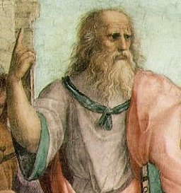 "detail of Plato from Raphael's ""School of Athens"""