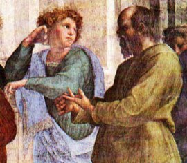 """detail of Socrates from Raphael's """"School of Athens"""""""