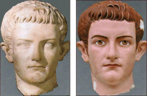 A portrait of Roman emperor Caligula and a color reconstruction by Brinkmann