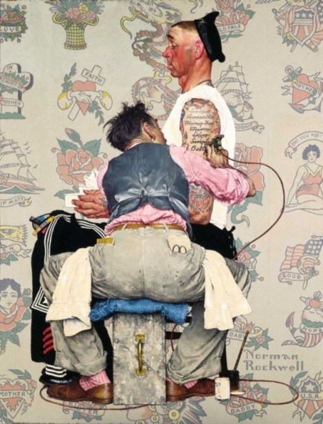 The Tattoo Artist Norman Rockwell 1944 Cover illustration for The Saturday Evening Post, March 4, 1944 Oil on canvas 43 x 33 in.
