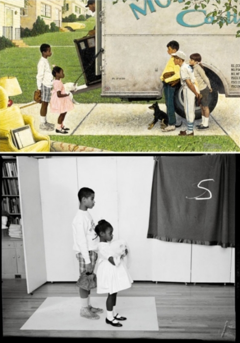 New Kids in the Neighborhood Norman Rockwell 1967 Tear sheet, Look, May 16, 1967 13 x 20 ½ in.