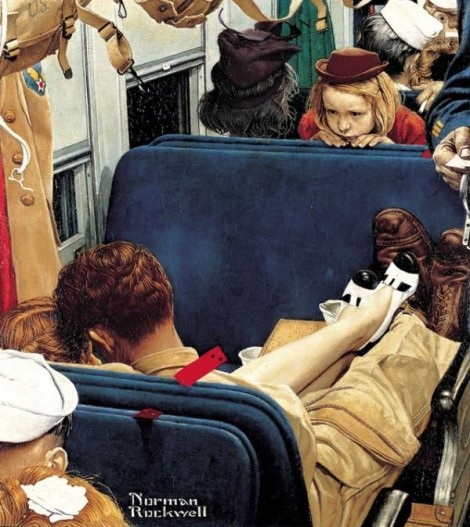 Little girl observing lovers on a train 1944 August 12, 1944 Issue of The Saturday Evening Post