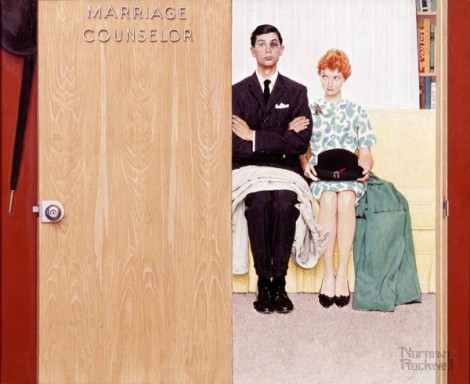 Marriage Counselor, 1963 Norman Rockwell Illustration intended for The Saturday Evening Post, c. 1963 but unpublished; offered to Ladies Home Journal, 1972, but unpublished oil on canvas
