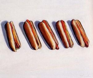 """Five Hot Dogs"" (1961), Wayne Thiebaud"