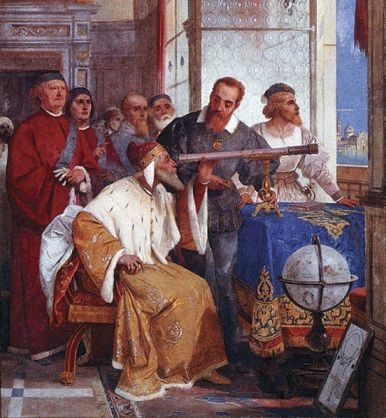 Giuseppe Bertini (1825-1898), Galileo Galleo showing the Doge of Venice how to use the telescope.