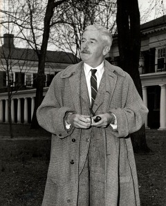 William Faulkner on the Lawn at the University of Virginia, 15 February 1957. Photograph by Ralph Thompson. [Digitization #000004470_0012]