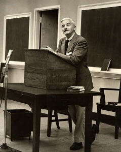 William Faulkner in a Cabell Hall classroom at the University of Virginia, probably February 1957. Photograph by Ralph Thompson. [Digitization #000004470_0016]