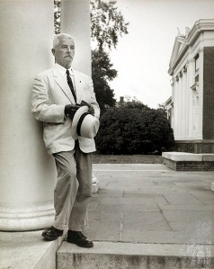 "Photo by Ralph Thompson of Faulkner beside South Lawn at UVA. Caption on back: ""Faulkner at U of VA circa 1960. Photo by Ralph Thompson."" [Print# 0186; Digitization# 000005733_0013]."