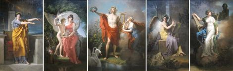 Apollo and the Muses, oil on canvas polyptych by Charles Meynier, Cleveland Museum of Art, from left to right: Polyhymnia, Muse of Eloquence Erato, Muse of Lyrical Poetry Apollo, God of Light, Eloquence, Poetry and Fine Arts with Urania, Muse of Astronomy Clio, Muse of History Calliope, Muse of Epic Poetry