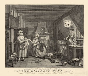 """The Distrest Poet'' by William Hogarth (completed in 1740 and issued in 1741)"