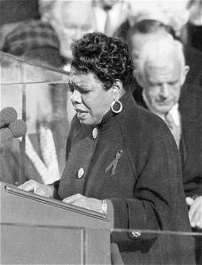 Maya Angelou reciting her poem, On the Pulse of Morning, at President Bill Clinton's inauguration in 1993