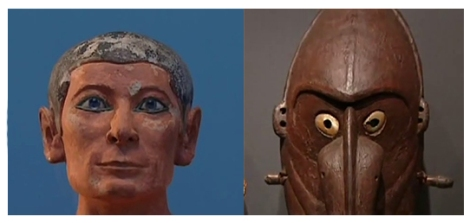 "Comparing the faces of ""The Scribe"" (left) and New Hebrides sculpture (right). Screenshots from the video."