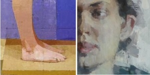 "Right - detail from Uglow's ""Ali""; Left - detail from Tsirkulenko-Suvorov's ""Portrait of Olga"""